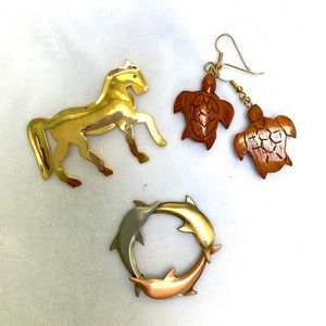 Animal Jewelry: Horse, Dolphins, Turtle Earrings